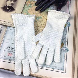 Vintage Off-White Italy Crochet Gloves